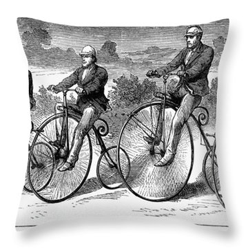 Bicycling, 1873 Throw Pillow by Granger