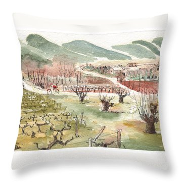 Bicycling Through Vineyards Throw Pillow