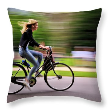 Throw Pillow featuring the photograph Bicycling Woman by Craig J Satterlee