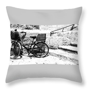 Bicyle In Cuitadella Throw Pillow