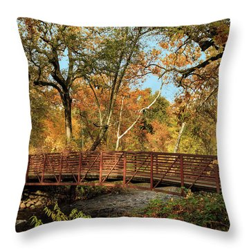 Throw Pillow featuring the photograph Bidwell Park Bridge In Chico by James Eddy
