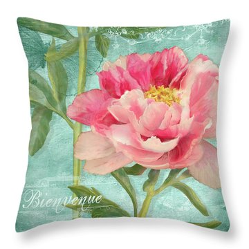 Bienvenue - Peony Garden Throw Pillow by Audrey Jeanne Roberts