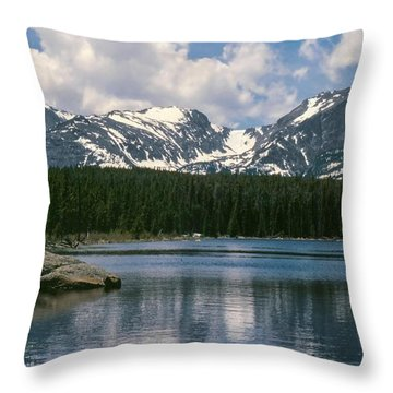Bierstadt Lake Hallett And Otis Peaks Rocky  Mountain National Park Throw Pillow