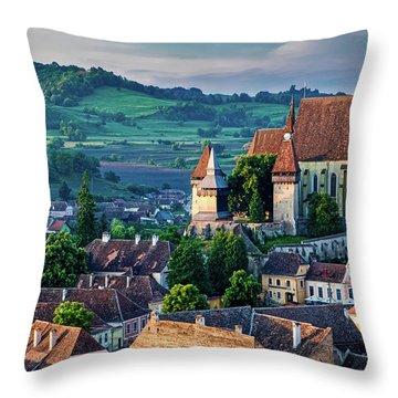Biertan Church Dawn - Romania Throw Pillow