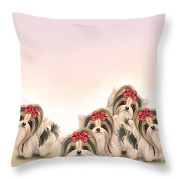 Biewer Pack Throw Pillow