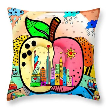 Big Apple By Nico Bielow Throw Pillow