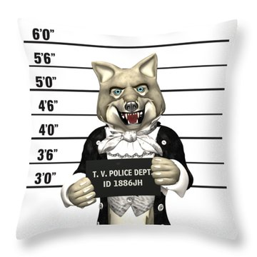 Big Bad Wolf Mugshot Throw Pillow by Methune Hively