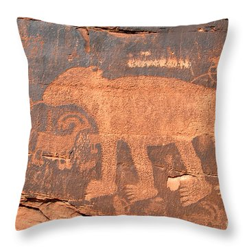 Big Bear Petroglyph Throw Pillow by David Lee Thompson