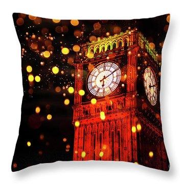 Big Ben Aglow Throw Pillow