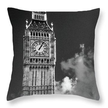 Big Ben And Clouds Bw Throw Pillow