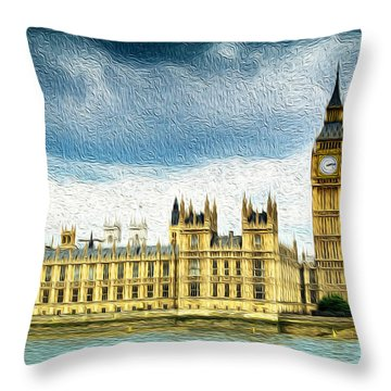 Big Ben And Houses Of Parliament With Thames River Throw Pillow