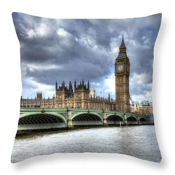 Big Ben And Thames Throw Pillow by Shawn Everhart