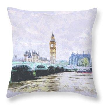 Big Ben And Westminster Bridge London England Throw Pillow