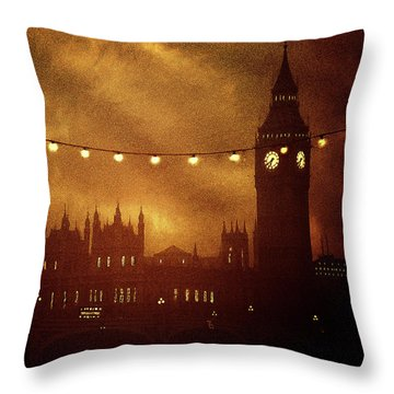 Throw Pillow featuring the digital art Big Ben At Night by Fine Art By Andrew David