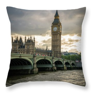 Big Ben At Sunset Throw Pillow