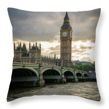 Big Ben At Sunset Throw Pillow