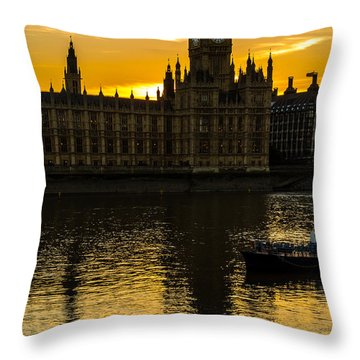 Big Ben Tower Golden Hour In London Throw Pillow