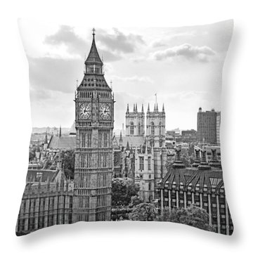 Throw Pillow featuring the photograph Big Ben With Westminster Abbey by Joe Winkler