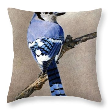 Big Blue Jay Throw Pillow by Ana Tirolese