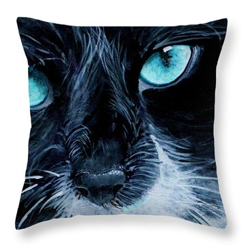 Throw Pillow featuring the painting Big Blue by Mary-Lee Sanders