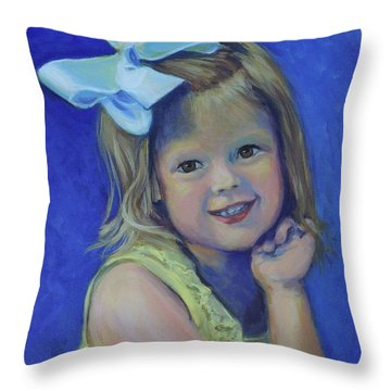 Big Bow Little Girl Throw Pillow