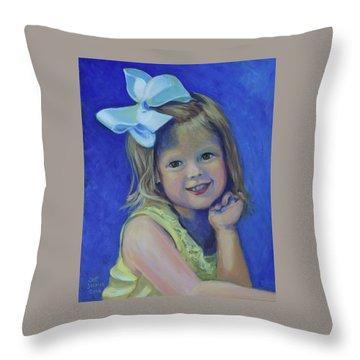 Big Bow Little Girl Throw Pillow