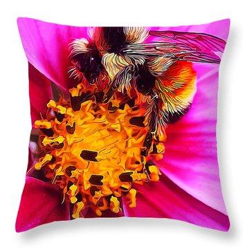 Big Bumble On Pink Throw Pillow