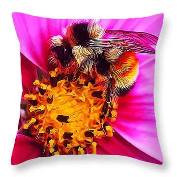 Big Bumble On Pink Throw Pillow