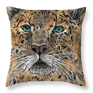 Throw Pillow featuring the digital art Big Cat by Darren Cannell