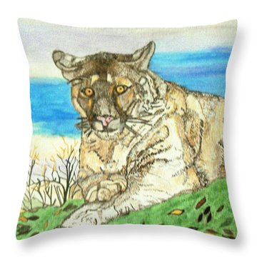 Throw Pillow featuring the painting Big Cat Watching Out For Prey by Connie Valasco