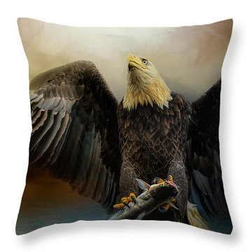 Big Catch Throw Pillow by Jai Johnson