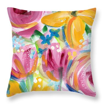 Big Colorful Flowers - Art By Linda Woods Throw Pillow