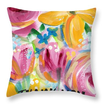 Big Colorful Flowers Thank You Card- Art By Linda Woods Throw Pillow