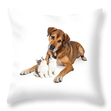 Big Dog Looking Down At Kittens Throw Pillow