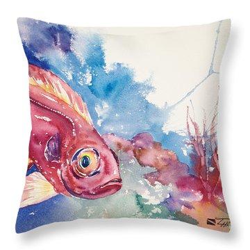 Big Eye Squirrelfish Throw Pillow by Tanya L Haynes - Printscapes