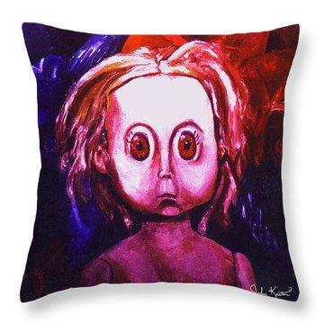 Big Eyed Dolly Throw Pillow by John Keaton