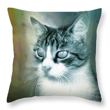 Throw Pillow featuring the digital art Big Eyes by Jutta Maria Pusl
