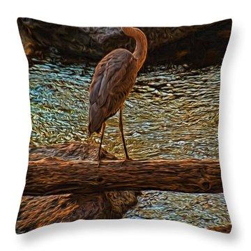 Big Falls Blue Heron Throw Pillow by Trey Foerster