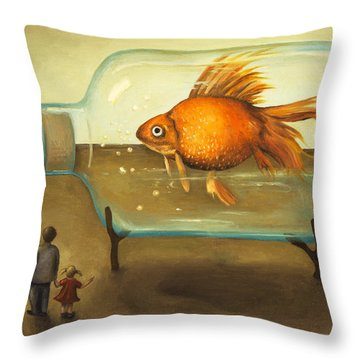 Big Fish Throw Pillow by Leah Saulnier The Painting Maniac