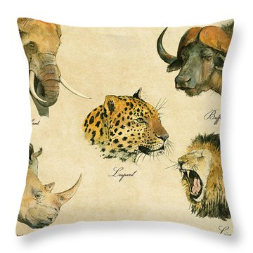 Big Five Poster Throw Pillow