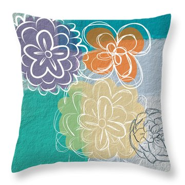 Big Flowers Throw Pillow by Linda Woods