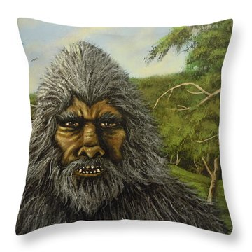 Throw Pillow featuring the painting Big Foot In Pennsylvania by James Guentner