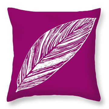 Big Ginger Leaf - Magenta Throw Pillow