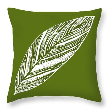 Big Ginger Leaf - Olive Throw Pillow