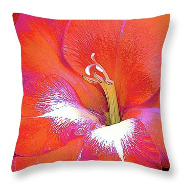 Big Glad In Orange And Fuchsia Throw Pillow
