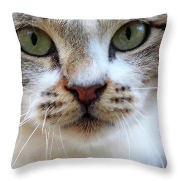 Throw Pillow featuring the photograph Big Green Eyes by Munir Alawi