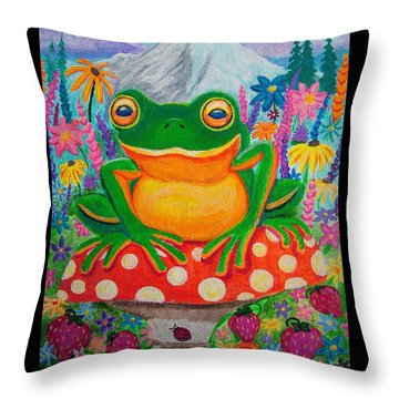 Big Green Frog On Red Mushroom Throw Pillow by Nick Gustafson