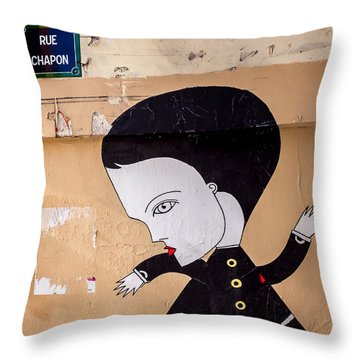 Big Head On Rue Chapon Throw Pillow
