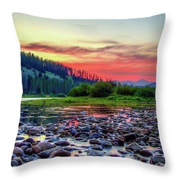 Big Hole River Sunset Throw Pillow