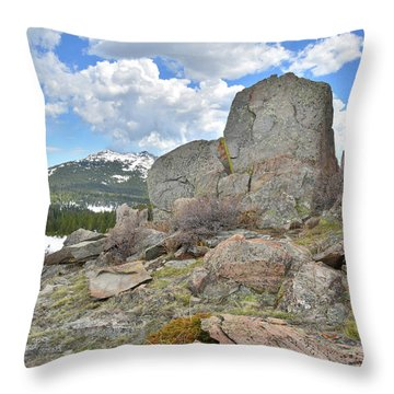 Throw Pillow featuring the photograph Big Horn Pass Rock Croppings by Ray Mathis